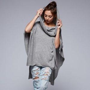 Lovestitch draped neckline wool mix knit poncho